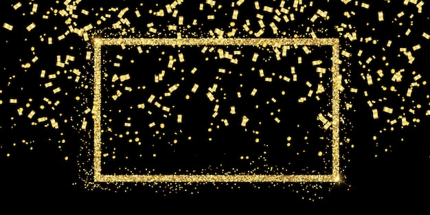 キラキラフレームと金の紙吹雪とお祝いの背景