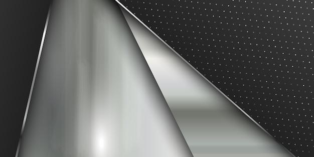 ブラシをかけられた金属の質感を持つバナーテンプレート