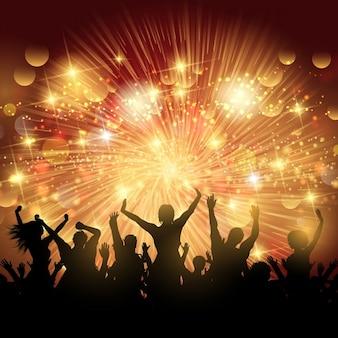パーティの群衆のシルエットが背景に点灯
