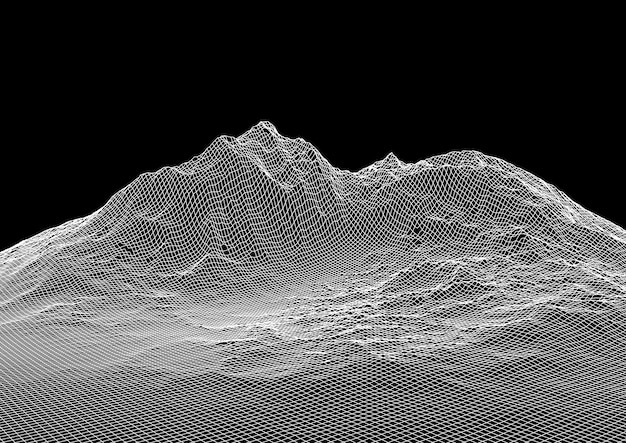 Абстрактный фон с каркасным ландшафтом