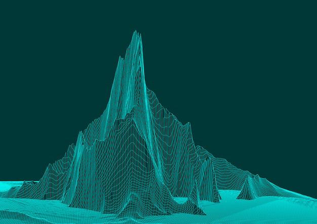 抽象的なワイヤーフレームのランドスケープデザイン
