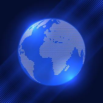 ハーフトーンドットデザインの地球の背景