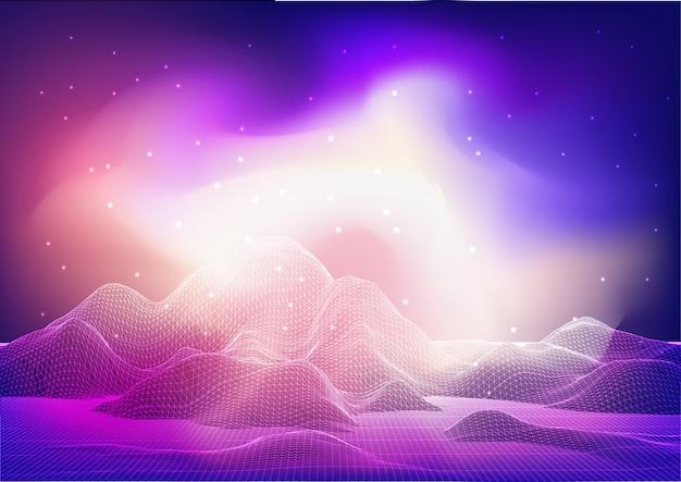 銀河の空と抽象的なワイヤーフレームランドスケープデザイン