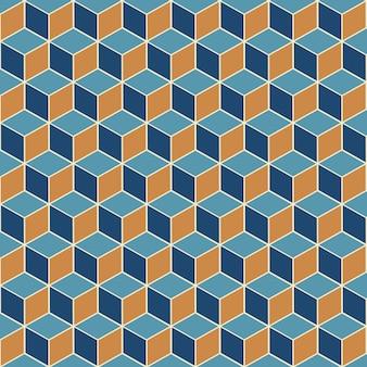 等尺性キューブのシームレスなパターンデザインと抽象的な背景