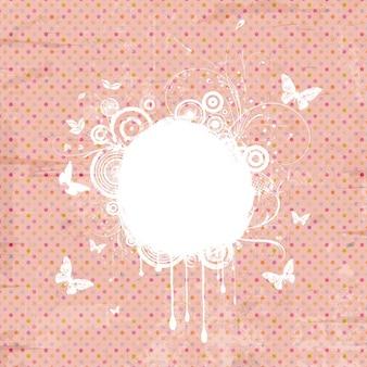 蝶と装飾的なヴィンテージグランジ水玉の背景