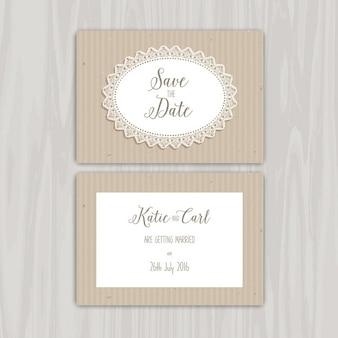 装飾的な素朴な日付の招待状を保存します
