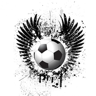 翼のシルエットとグランジの背景にサッカー