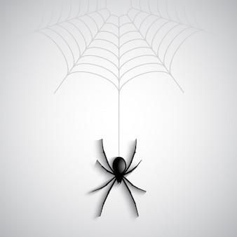 蜘蛛の巣からクモのダングリングとハロウィーンの背景