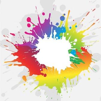 鮮やかな色のペンキ飛び散りと抽象的なグランジ背景