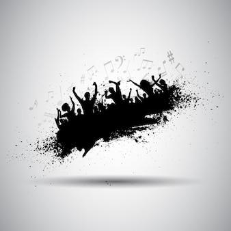 ペイント汚れの上で踊って人々のシルエット