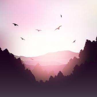 ピンクの色調で山の風景