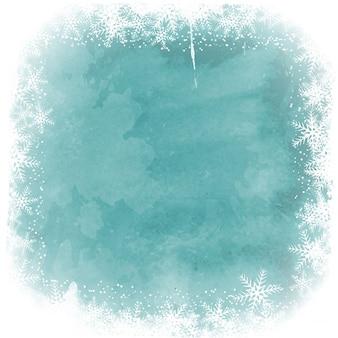 Рождественские снежинки границы на фоне акварель