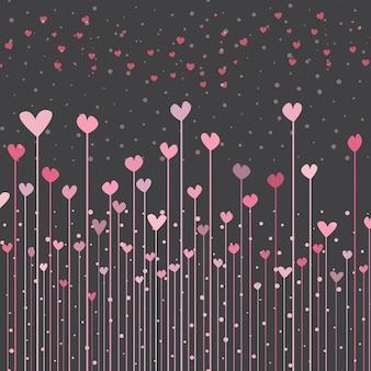 バレンタインのためのピンクのハートと黒の背景