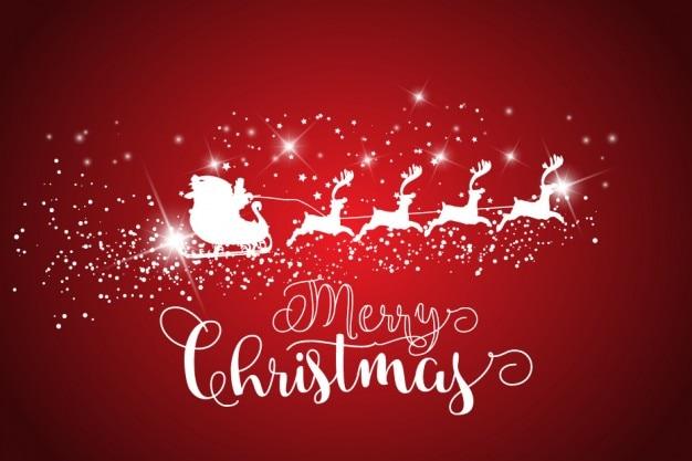Санта-клаус санях на красном фоне
