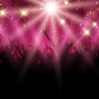 ディスコの照明の背景に党の群衆のシルエット