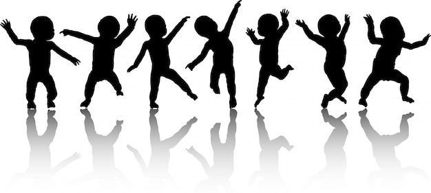 踊る赤ちゃんのシルエット