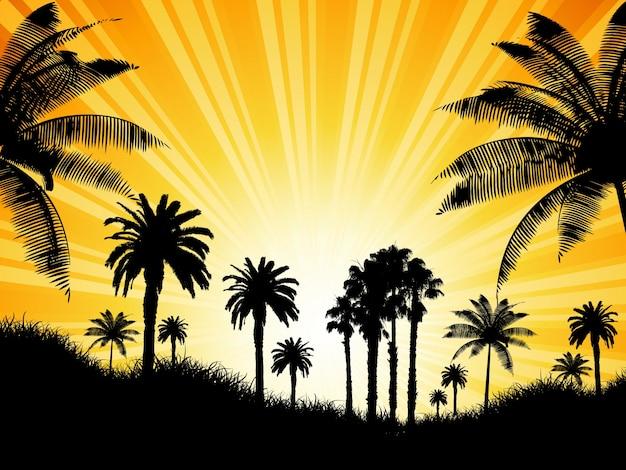 晴れた日の出、ヤシの木を持つ熱帯の背景