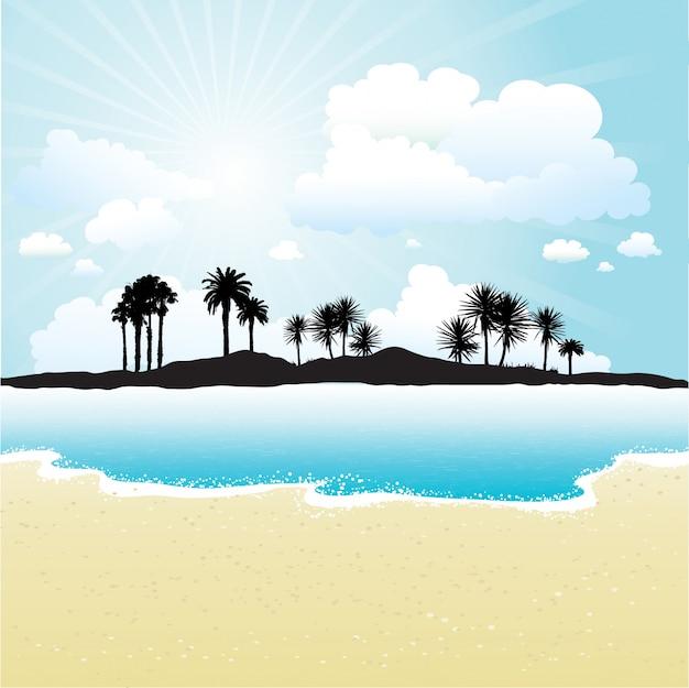 Силуэт тропического острова против солнечного неба и пляжа