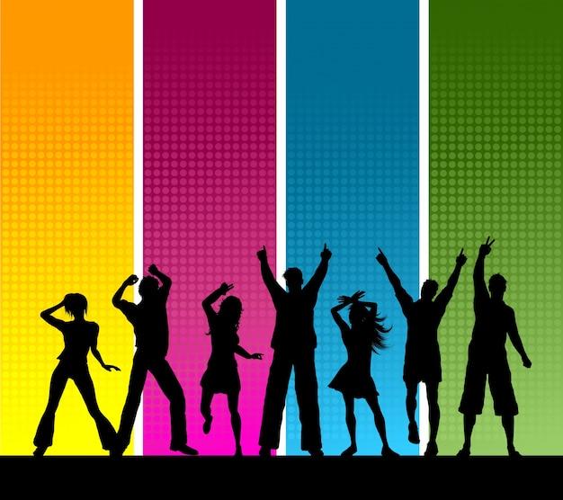 Силуэты группы людей, танцы