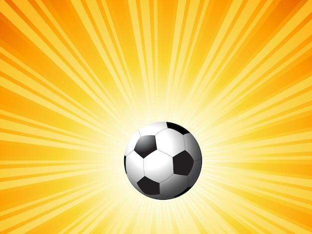 明るい星のバーストの背景にサッカー