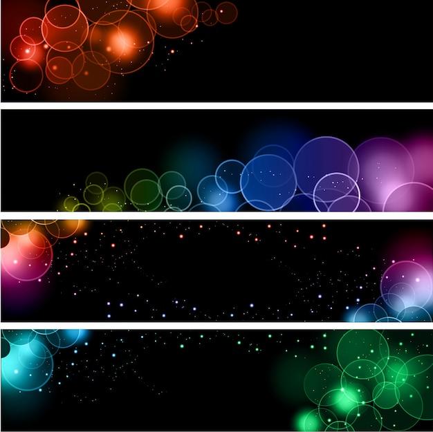 Коллекция баннеров с различными дизайнами световых эффектов боке