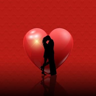 赤の背景にバレンタインのカップルのシルエット