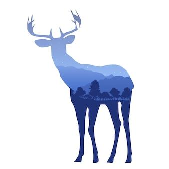 山の風景と二重露光効果を持つ鹿のシルエット