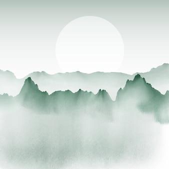 手は山の景色の背景を描いた
