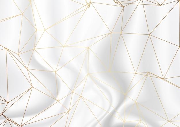 シルバーの大理石のテクスチャの背景にゴールド低ポリデザイン