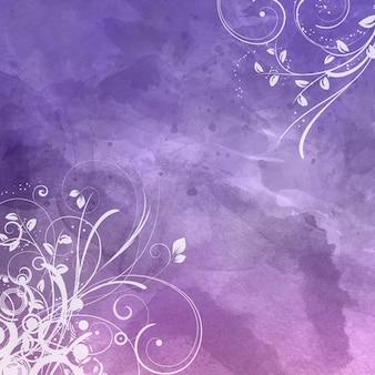 水彩画の背景に装飾的な花柄