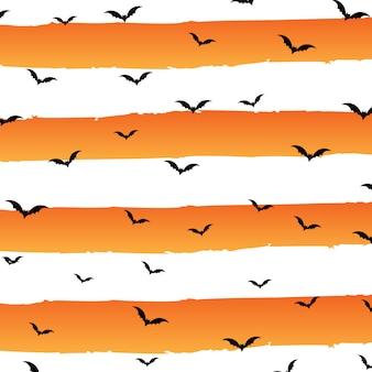 縞模様とバットのハロウィーンの背景