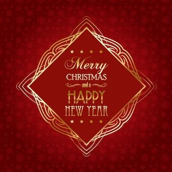 Красный рождественская открытка с золотой раме