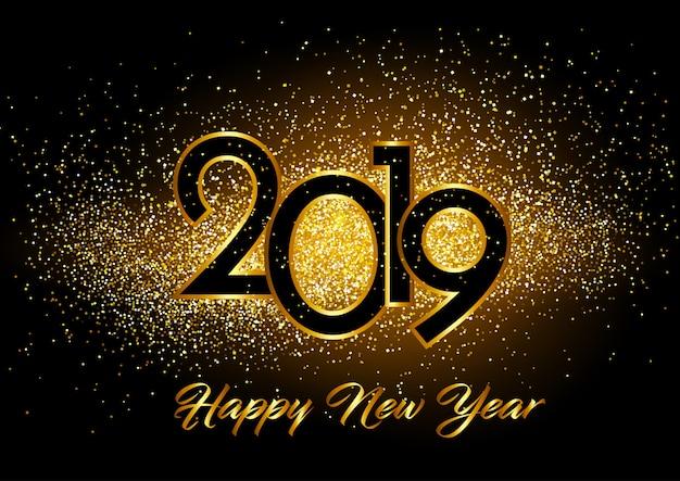 光り輝く効果のある新年の幸せな背景