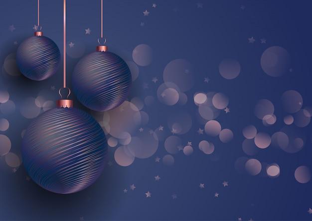 ローズゴールドとブルーのクリスマスの飾り
