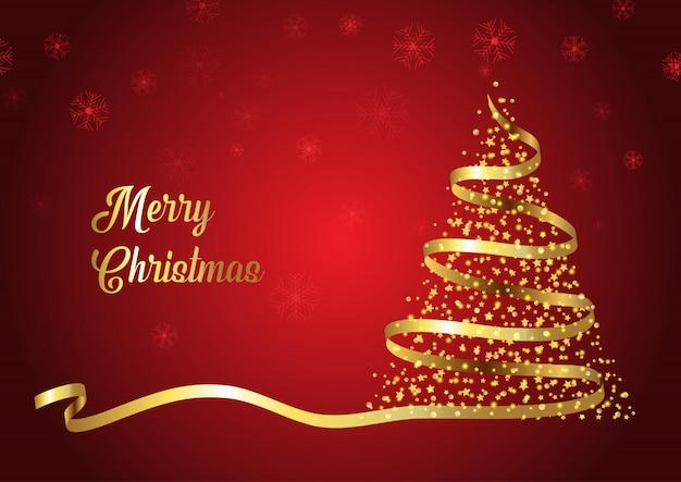 Рождественская елка с золотой лентой