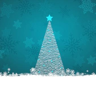 雪片の背景に落書きのクリスマスツリー