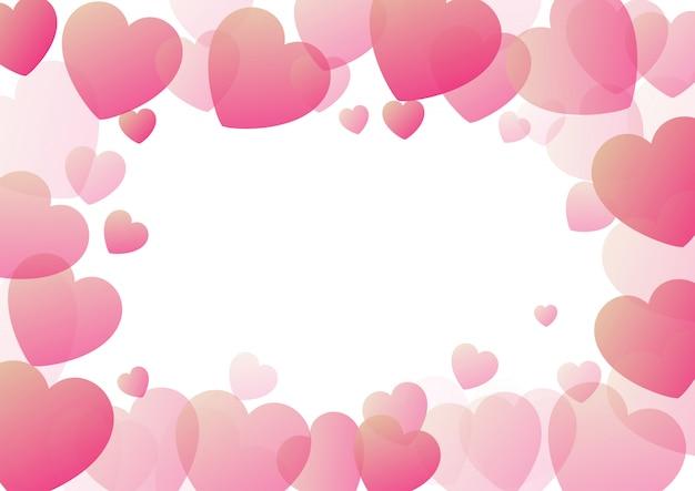 ハートの罫線とバレンタインデーの背景