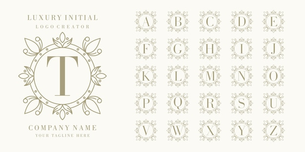 Первоклассный логотип с цветочной рамкой