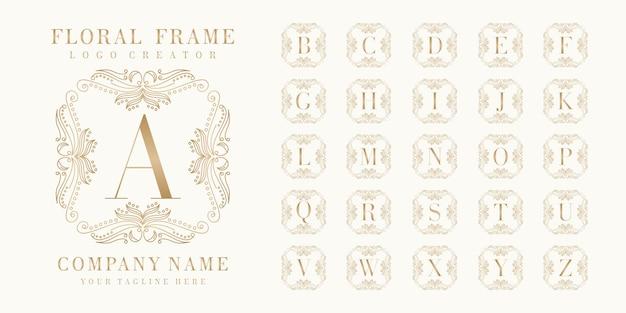 Премиальный начальный дизайн логотипа кровати с цветочной рамкой
