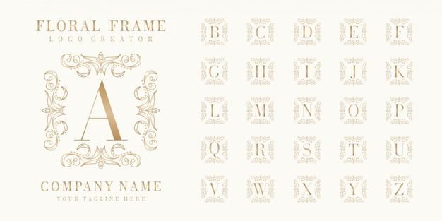 花のフレームを使用したプレミアム初期バッジロゴデザイン