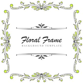 プレミアム花装飾フレームテンプレート