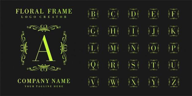 Начальный логотип монограмма с растительным орнаментом