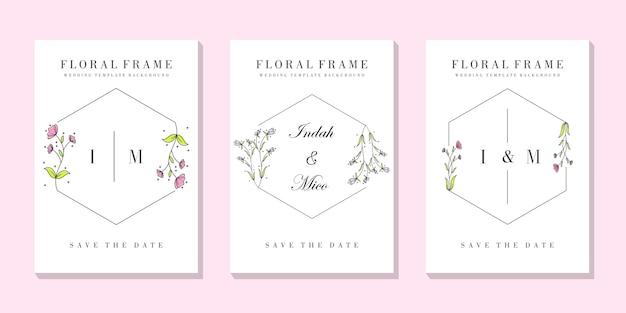 結婚式の花のフレームカードテンプレート