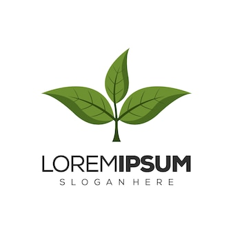 Зеленый лист дизайн логотипа