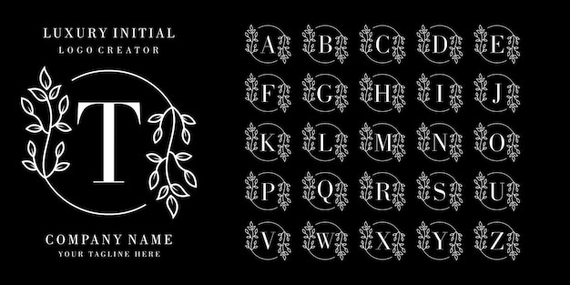 Начальная с цветочной рамкой премиум дизайн логотипа