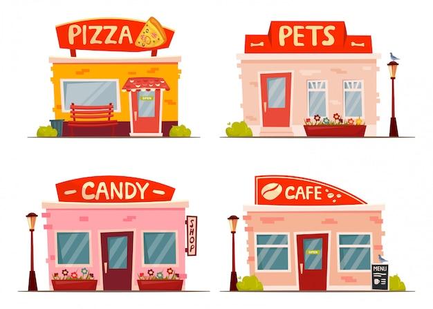 Установить мультфильм магазин фасадов. пиццерия, домашние животные, конфеты, кафе, здания. городские элементы.