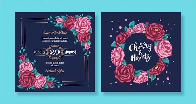 暗い背景を持つヴィンテージの花バラ結婚式招待状