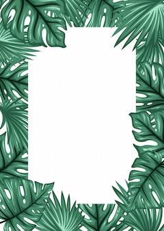 ヤシの葉のフレームの背景。熱帯グリーティングカード