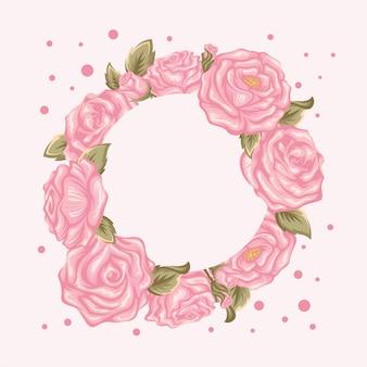 Круглая рамка из розовых цветов
