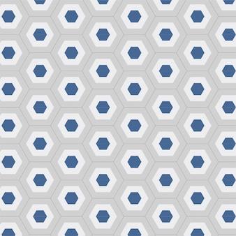 モダンな六角形のシームレスな幾何学的な背景パターンの青と白